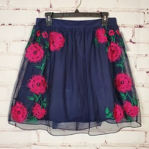 Speechless mesh embroidered skirt w/crop top